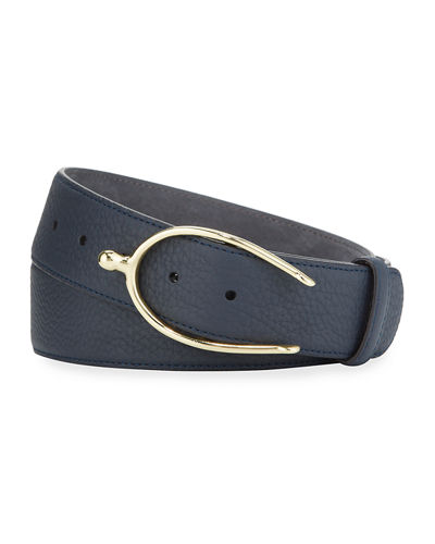 Men's Lagun Grained Nubuck Belt w/ Horseshoe Belt
