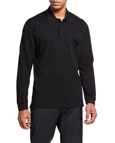Men's Long-Sleeve Pique Jersey Polo Shirt