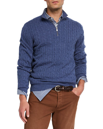 Men's Cable-Knit Cashmere Quarter-Zip Sweater