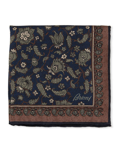 Floral Paisley Silk Pocket Square