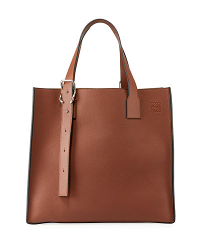 Men's Leather Tote Bag with Buckle Straps