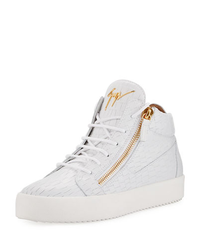 c3cb4739b86c4 Giuseppe Zanotti Men's Embossed Leather Mid-Top Sneakers