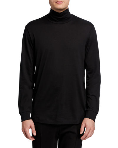 Men's Solid Long-Sleeve Funnel-Neck T-Shirt