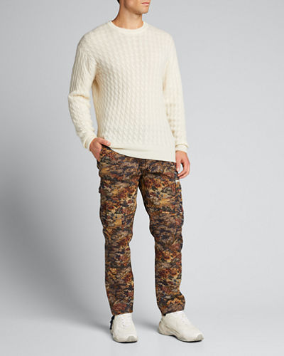 Men's Tapestry-Pattern Cargo Pants