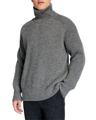 Men's Ribbed Wool Oversized Turtleneck Sweater
