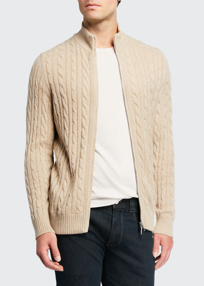Men's Cable-Knit Cashmere Zip-Front Sweater