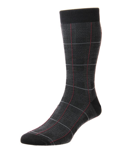 Men's Chesham Merino Royale Windowpane Check Socks