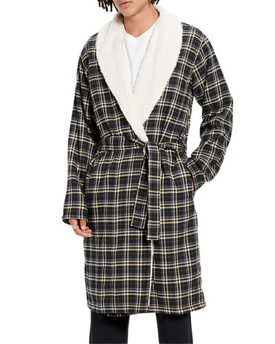 Men's Kalib Fleece-Lined Plaid Robe