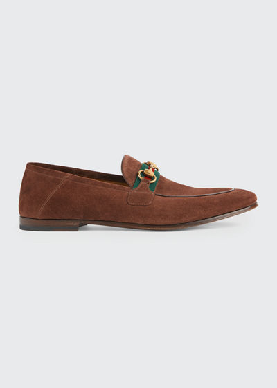 Men's Fold-Down Suede Web Horsebit Loafers