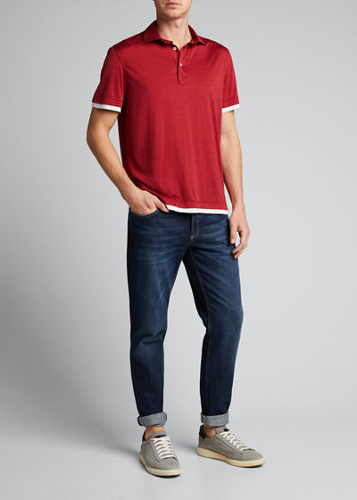 Men's Contrast-Trim Polo Shirt