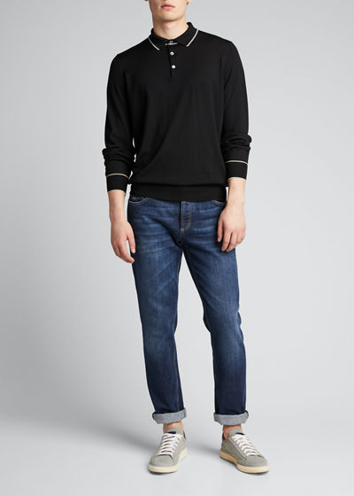 Men's Contrast Tipping Long-Sleeve Polo Shirt