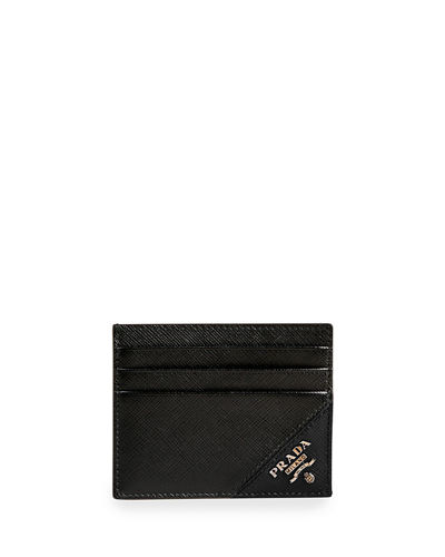 Men's Saffiano Leather Contrast-Logo Card Case