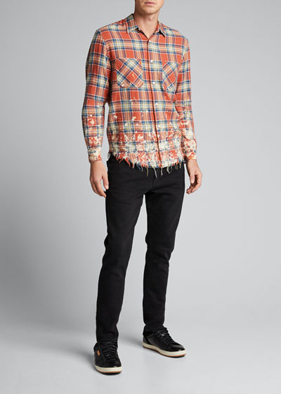 Men's Splatter Plaid Sport Shirt