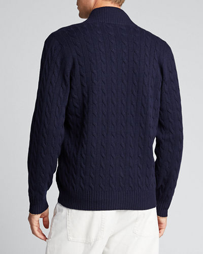 Men's 4-Ply Cashmere Zip-Front Sweater