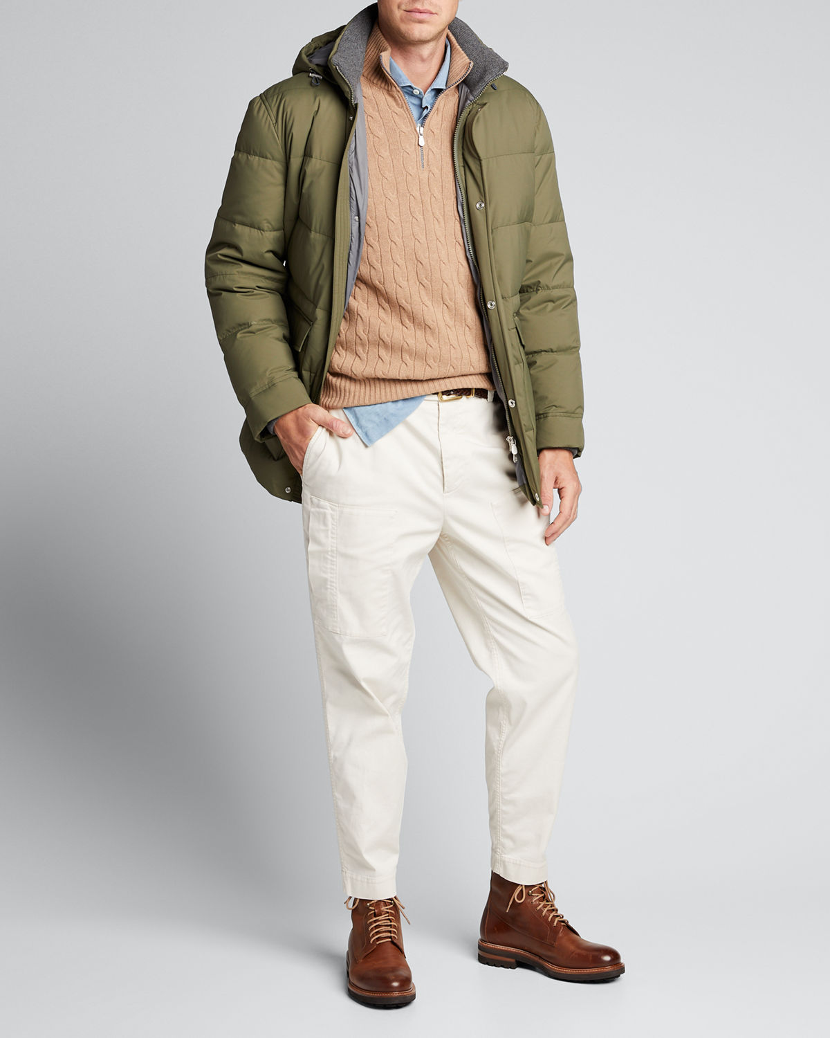 Brunello Cucinelli Tops MEN'S MICROFIBER DOWN PARKA