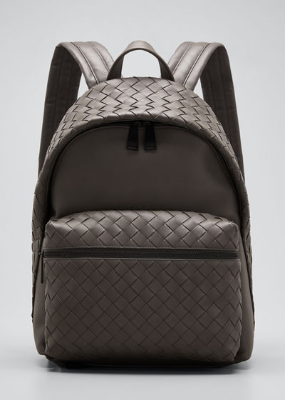 Men's Borsa Medium Woven Leather Backpack