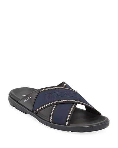 Men's Crisscross Logo-Web Slide Sandals