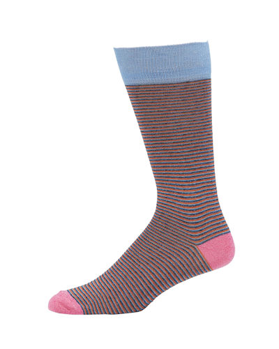 Men's Mercerized Cotton-Blend Heather Striped Socks