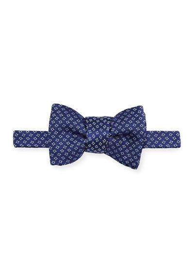 Mens Pink//White Houndstooth Pre-Tied Cotton Bow Tie On Adjustable Twill Strap