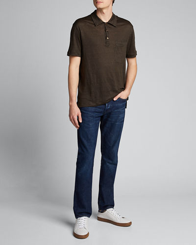 Men's Solid Linen Polo Shirt