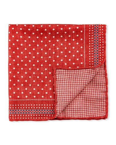 Men's Reversible Dots/Houndstooth Pocket Square