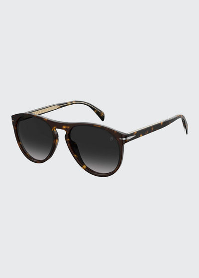 Men's Havana Acetate Round Gradient Sunglasses