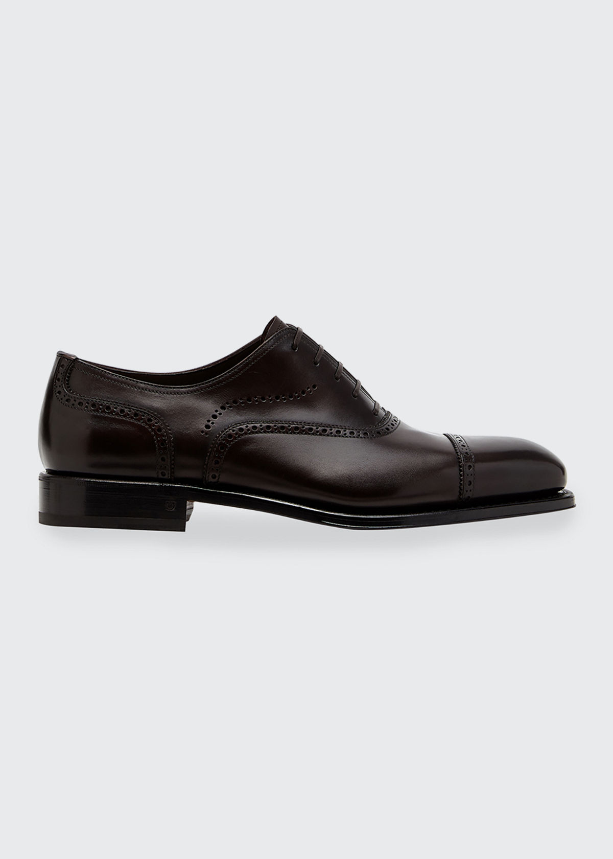 Salvatore Ferragamo MEN'S PIZZARRO BROGUE LEATHER LACE-UP DRESS SHOES