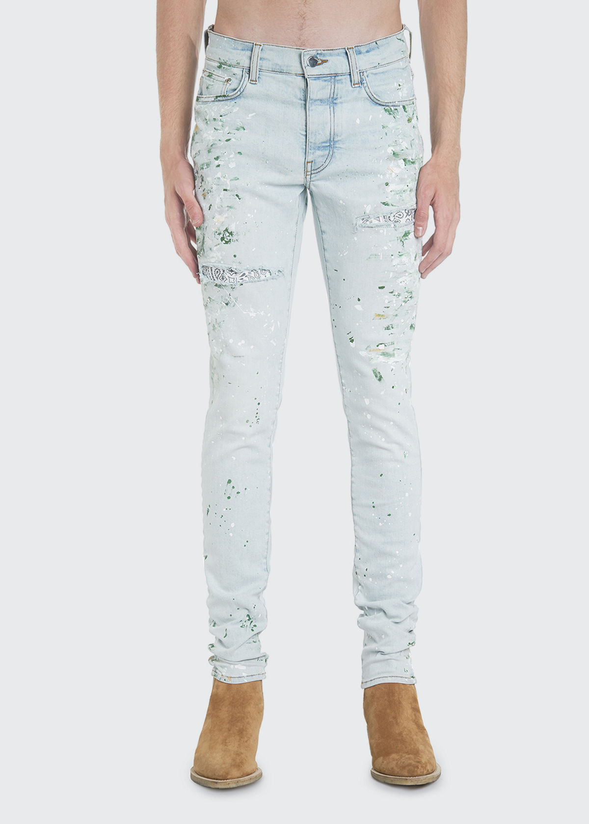 Amiri MEN'S HAND-PAINTED DISTRESSED SKINNY JEANS