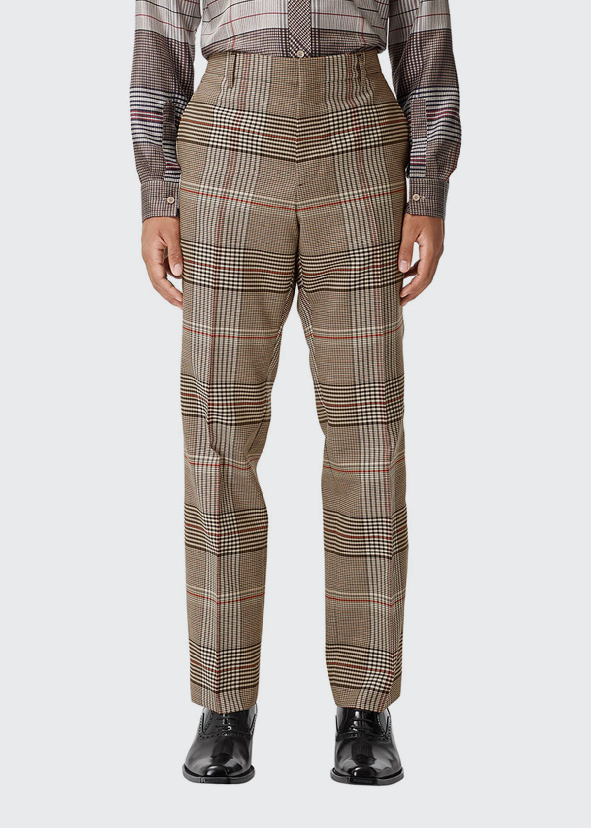 Burberry MEN'S GRAPH CHECK WOOL TROUSERS
