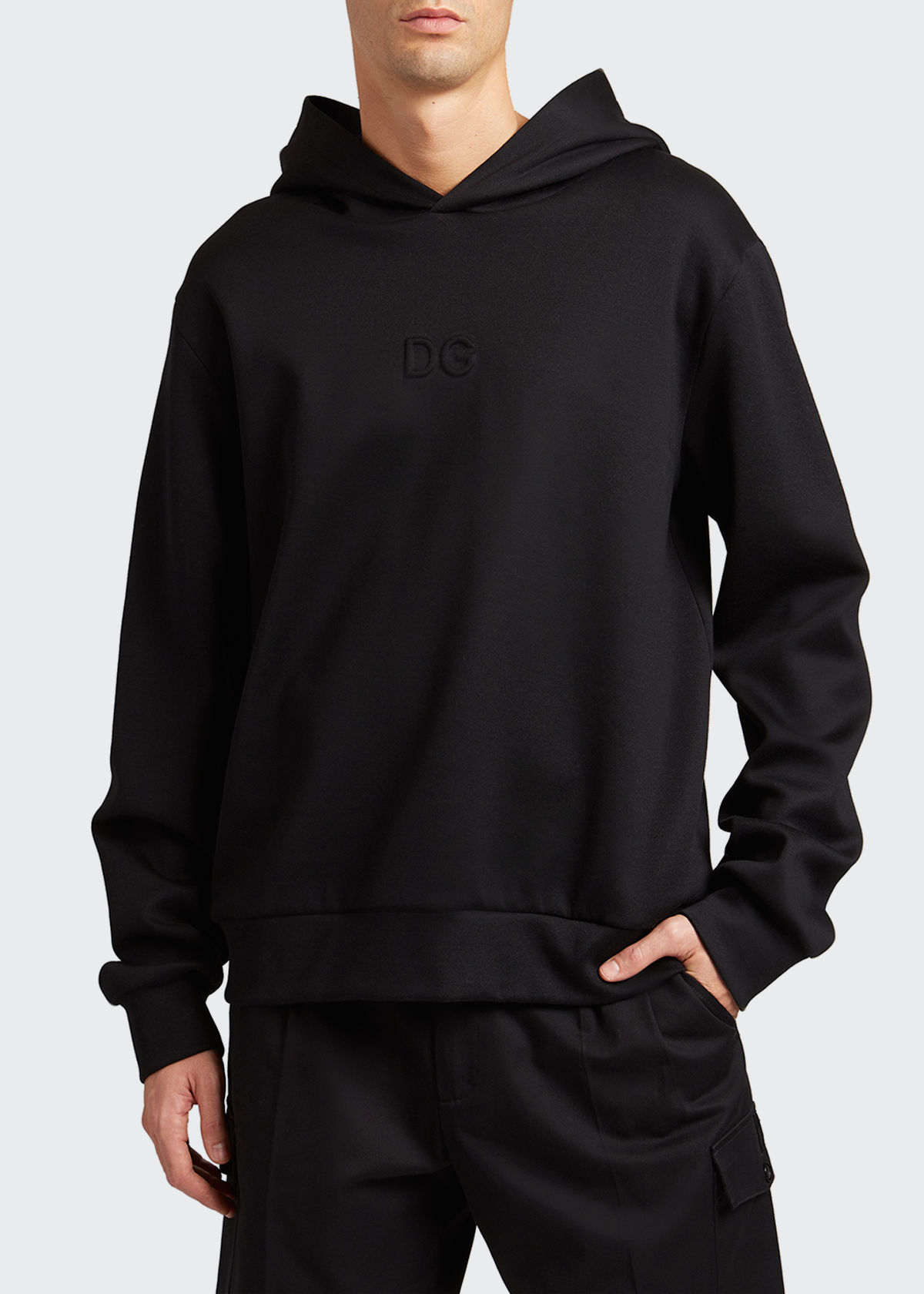 Dolce & Gabbana Cottons MEN'S SOLID EMBOSSED PULLOVER HOODIE
