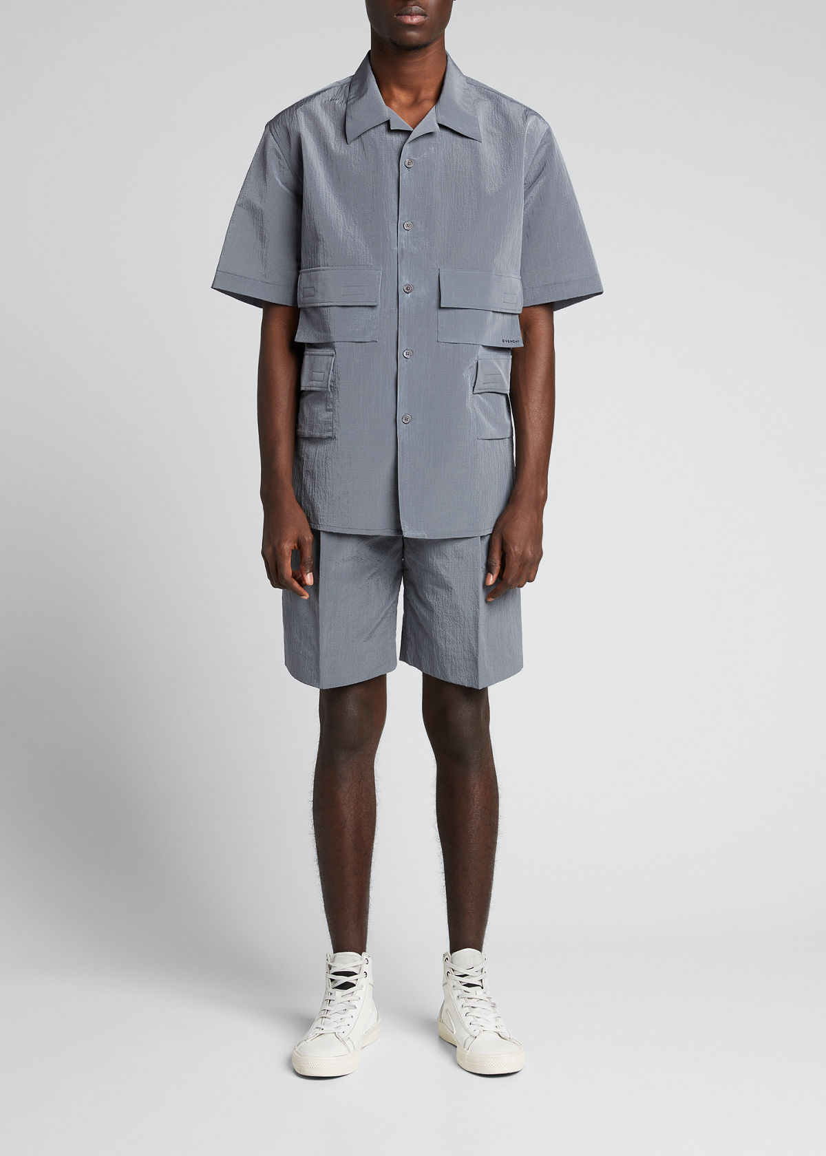 Givenchy MEN'S TECH SEERSUCKER PLEATED SHORTS