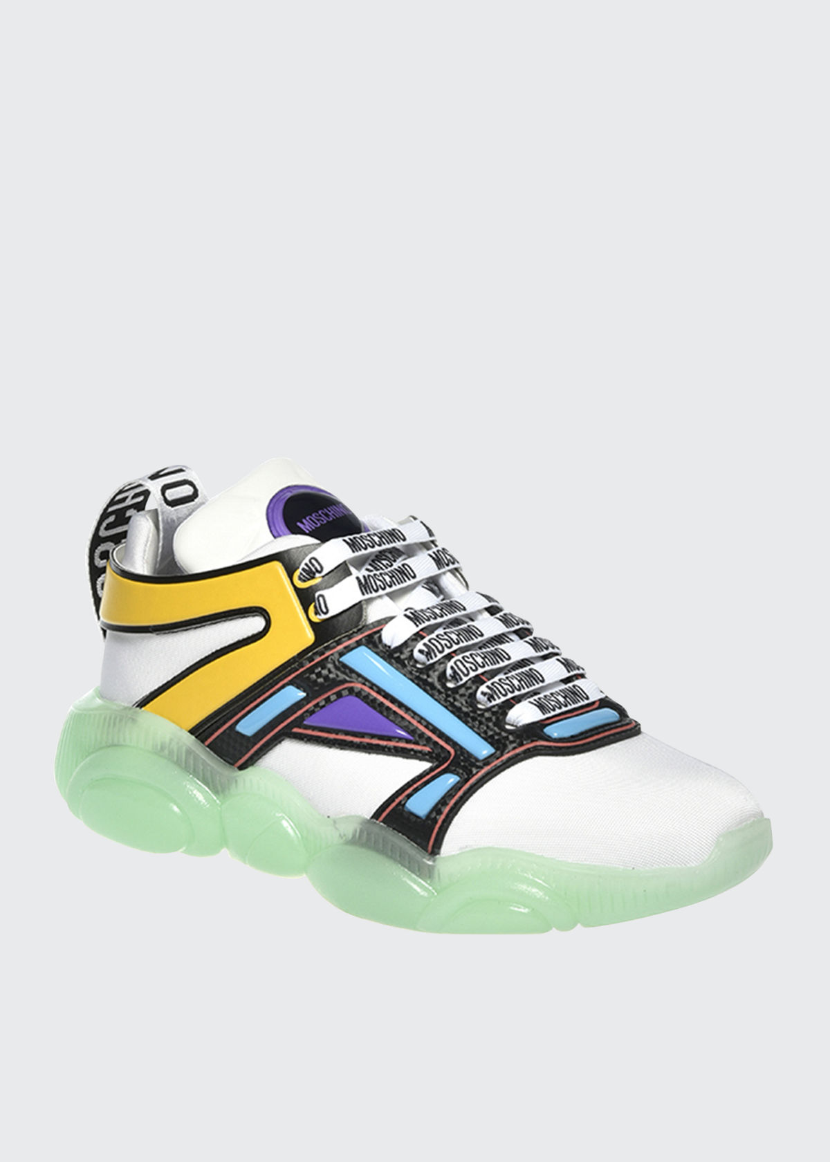 Moschino Leathers MEN'S MULTICOLOR CLEAR-SOLE CHUNKY SNEAKERS