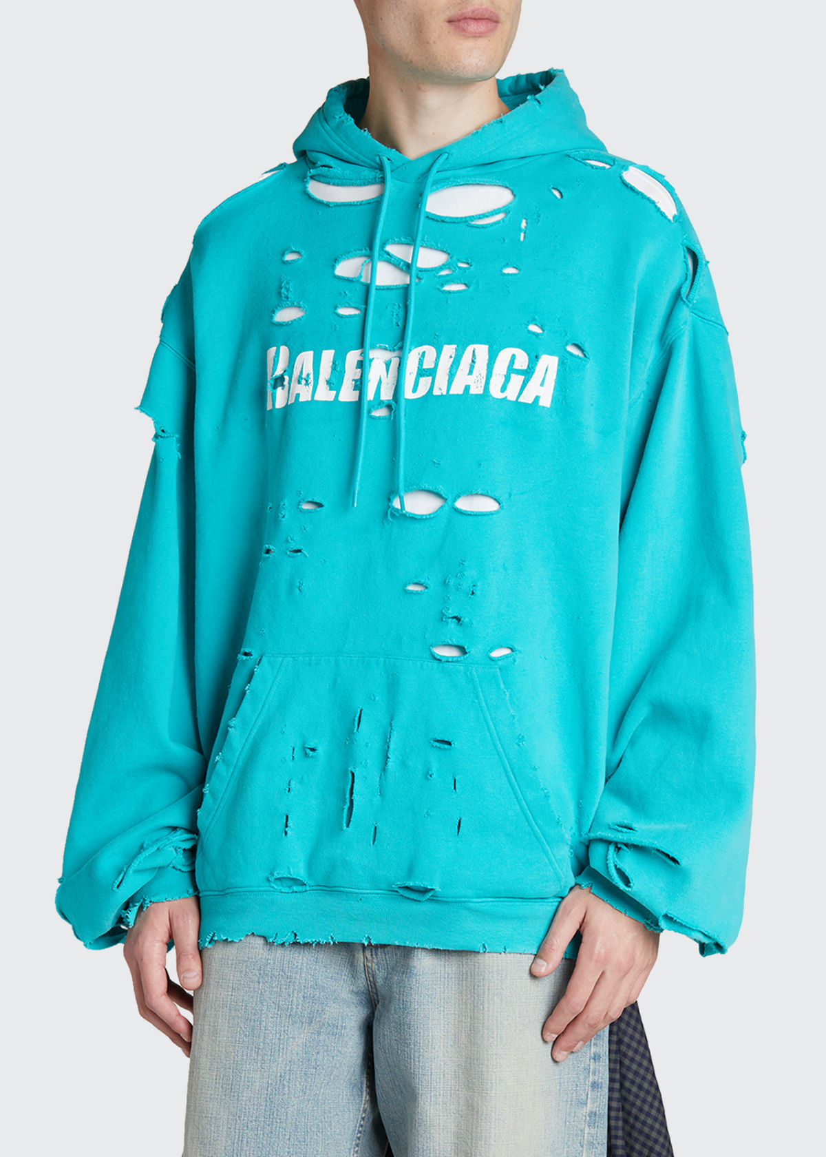 Balenciaga Cottons MEN'S DOUBLE-LAYER DESTROYED HOODIE