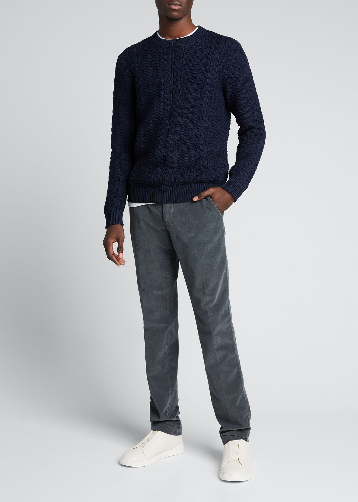 A.p.c. MEN'S CLAY CABLE-KNIT PULLOVER SWEATER