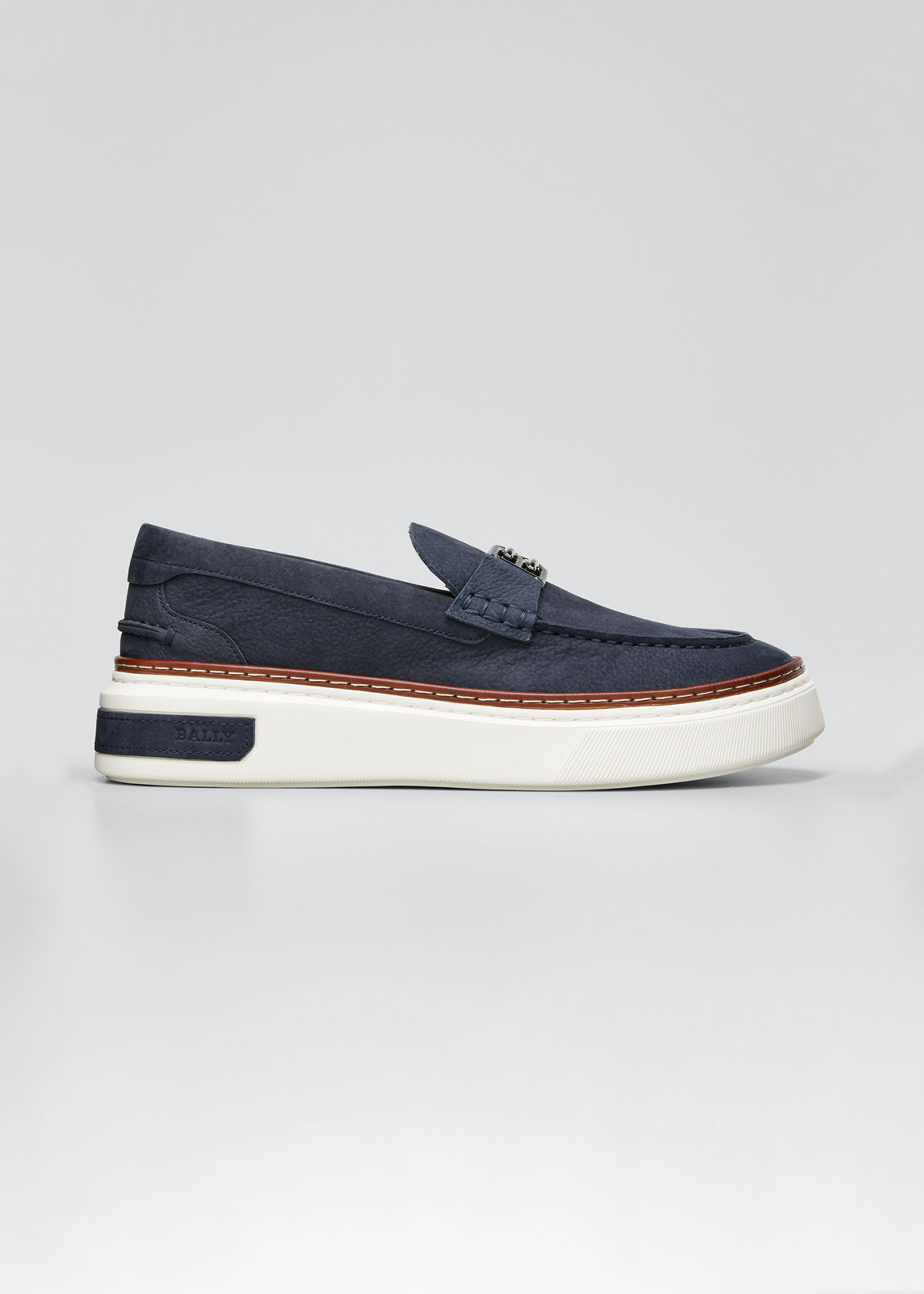 Bally MEN'S MAICOL 16 NUBUCK FLATFORM SLIP-ONS WITH B-CHAIN