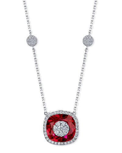 18k White Gold 13mm Cushion-Cut Necklace w/ Diamonds