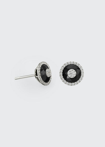 18k White Gold 7mm Halo Stud Earrings w/ Diamonds