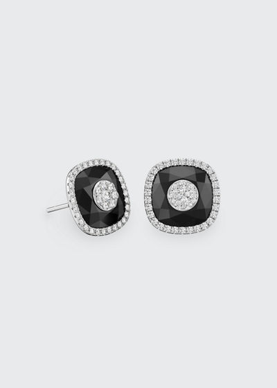 18k White Gold 10mm Cushion-Cut Stud Earrings w/ Diamonds