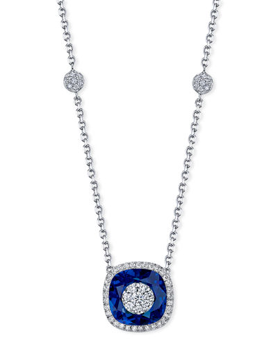 18k White Gold 10mm Cushion-Cut Necklace w/ Diamonds