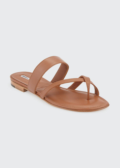 Susa Crisscross Leather Flat Sandals