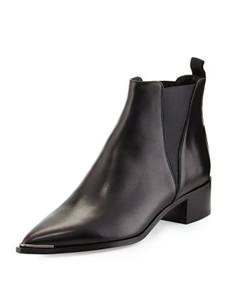 Acne Studios Leather Pointed-Toe Ankle Boots