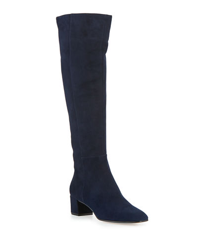 Low-Heel Suede Knee Boots