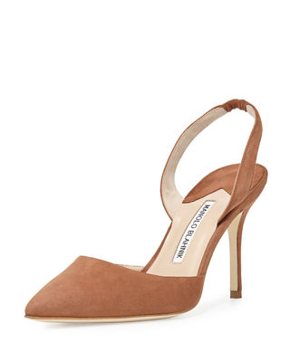 MANOLO BLAHNIK CAROLYNE 90MM SUEDE HALTER PUMP, RUST BROWN