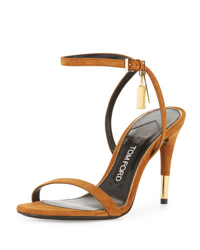 5bb129197fa9 TOM FORD Suede 85mm Ankle Lock Sandal