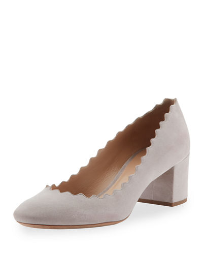 6732cb91d126 Chloe Lauren Scalloped Suede Block-Heel Pump