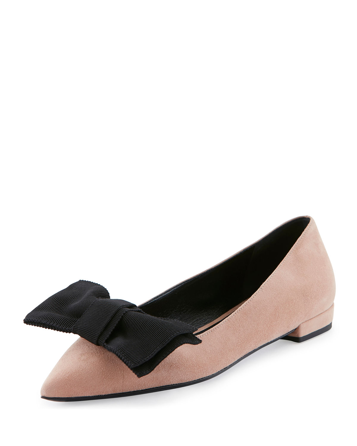 Suede Point-Toe Bow Flat