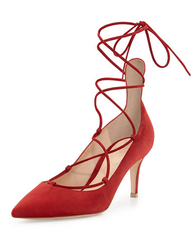 Suede Lace-Up 70mm Pump