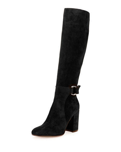 Suede 85mm Tall Buckle Boot