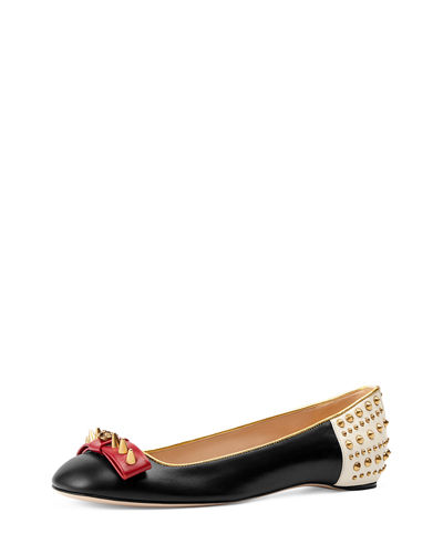 75a922756 Gucci Lexi Studded Leather Ballerina Flat