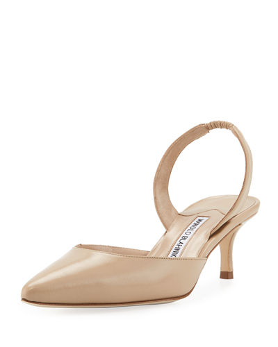 Carolyne Leather Low-Heel Slingback Pump